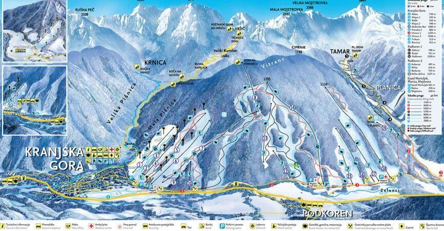 Краньска гора, карта трасс