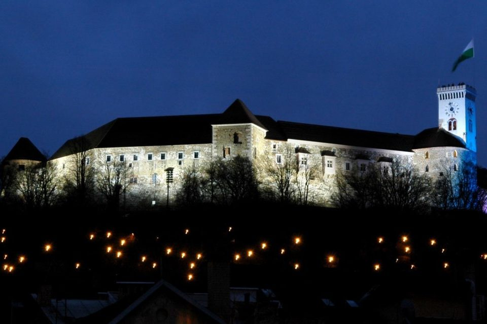 Люблянский замок ночью