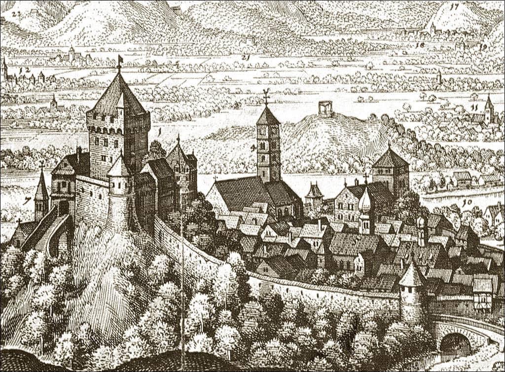 Шкофья Лока 1649 г. гравюра, автор M. Merian