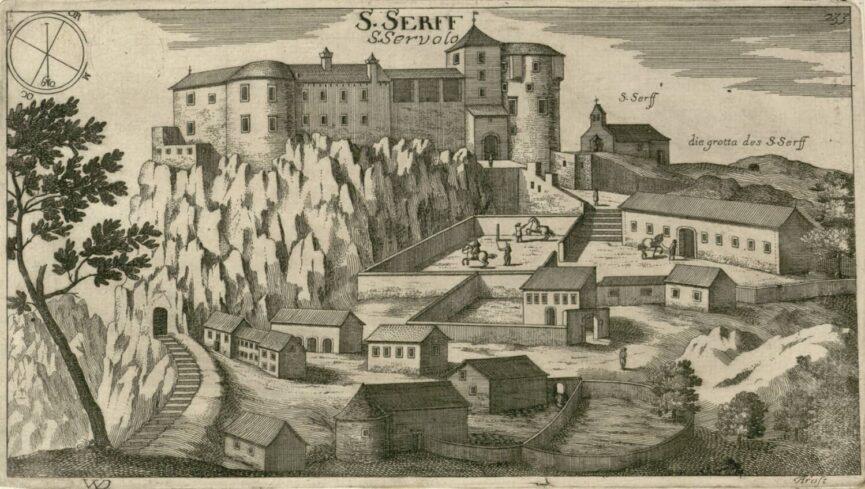 Замок Соцерб, гравюра Я. В. Вальвазор
