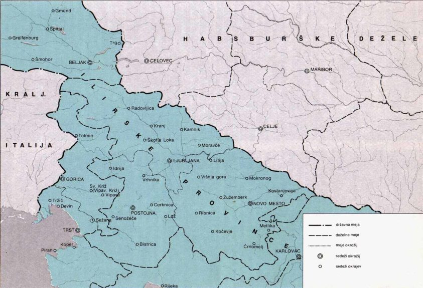 Карта Илирийских провинций. Копер слева внизу