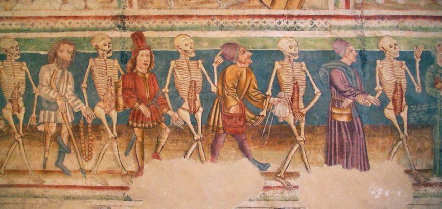 Фрагмент фрески Танец смерти в церкви святой Троицы в Храстовлье