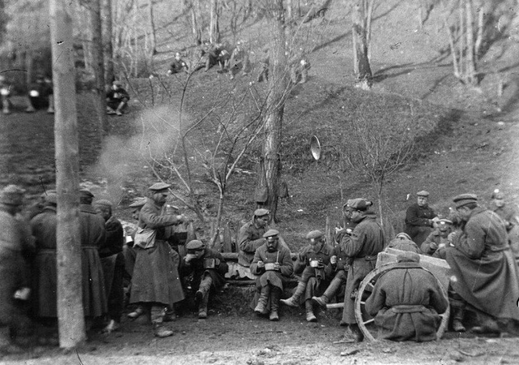 Русские военнопленные на строительстве дороги через Вршич