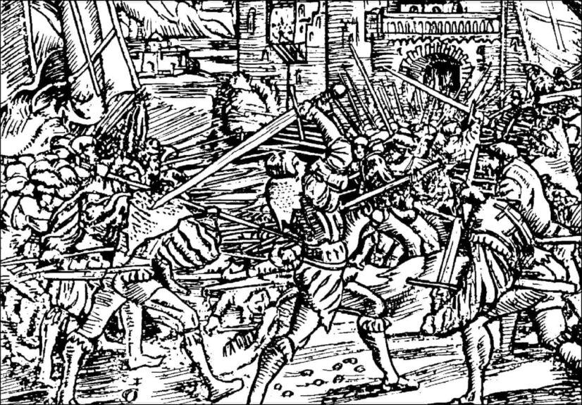 Крестьянские войны в Европе XVI в., гравюра на дереве