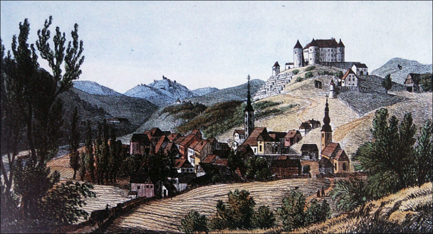 Литография замка Севница 1830 год