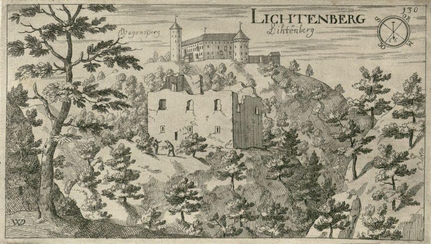 Развалины замка Лихтенберг на фоне замка Богеншперк