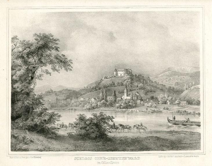 Замок Севница на литографии