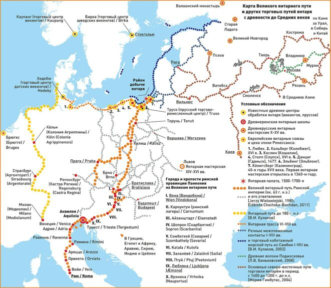 Карта великого Янтарного пути