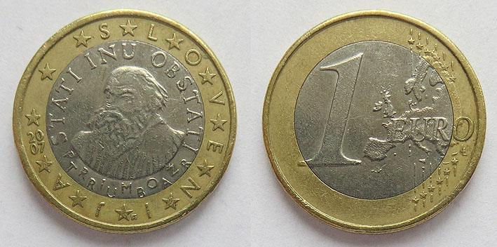 Монета номиналом один евро