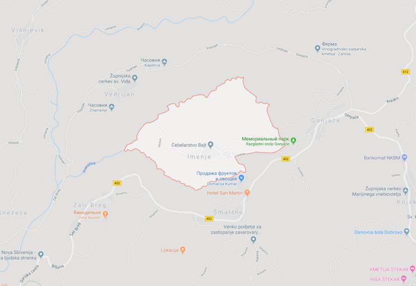 Деревня Именье в Брдах
