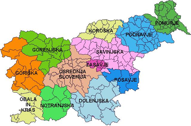 Карта Гореньского региона Словении
