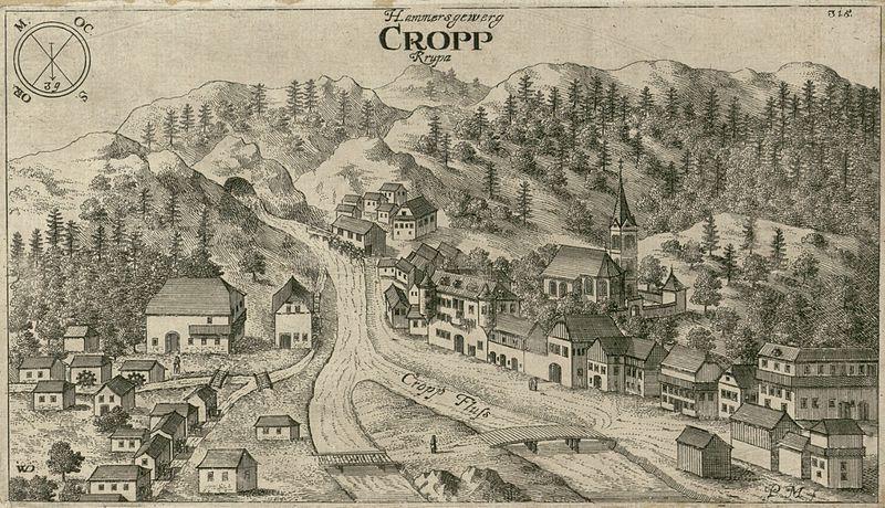 Кропа, гравюра Я. В. Вальвазора 1679 г.