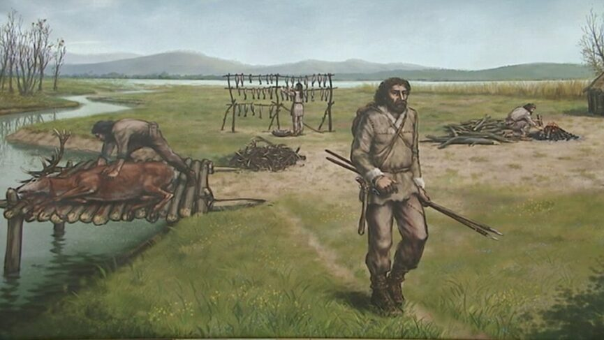 Древние люди (колишчары), жившие в свайных поселениях на Люблянских болотах