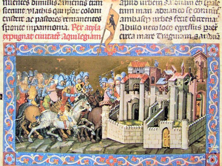 * Гунны под предводительством Аттилы осаждают Аквилею. Иллюстрация XIV века.