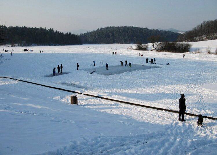 Лед на Шмартинском озере