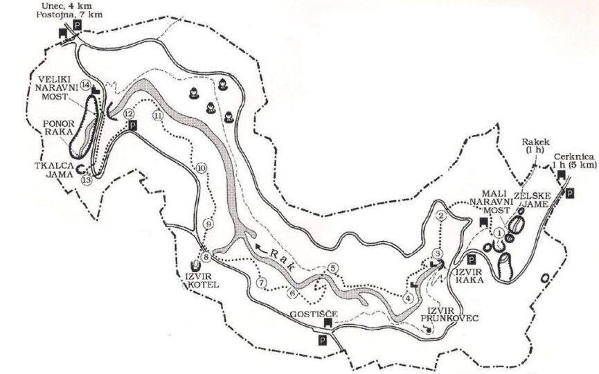 Карта парка Раков Шкоцьян