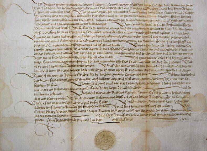 Документ Барбары Трубар, урожденной Ситар, выдан 28 апреля 1554 года в Кемптене.