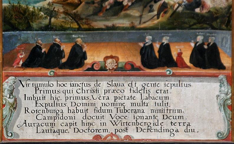 Семья Трубар на картине 1587 года в приходской церкви в Дерендингене: Примож со всеми тремя женами и детьми (фото: Фридхельм Швейцер, 2008)