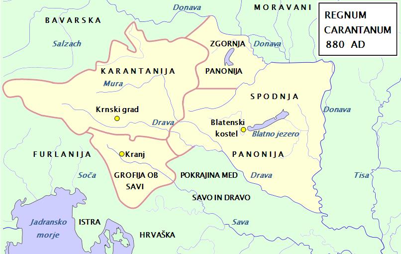 Карта Карантании/Хорутании