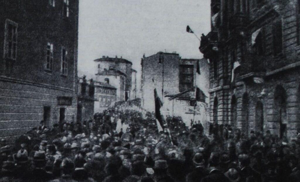 Демонстрация в Риеке против монархии Габсбургов. 1918 год.
