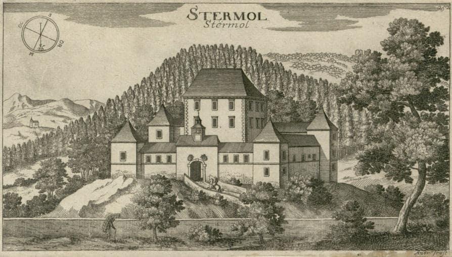 Замок Стрмол, старая гравюра